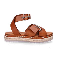 Espadrille sandal smooth leather Cognac