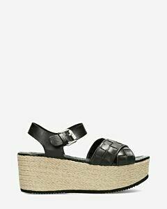 Sandale-Plateausohle-gewebter-Riemen-schwarz