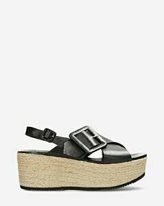 Espadrille plateau sandal black