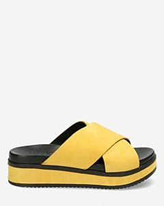 Slipper with covered wedge yellow