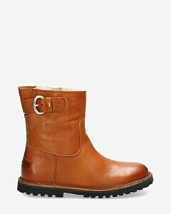 Wool lined ankle boot vegetable leather cognac