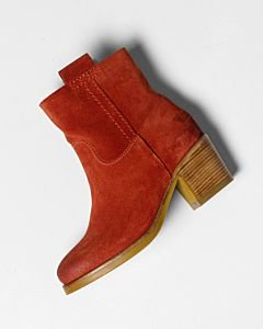 Terracotta-brown-suede-ankle-boot