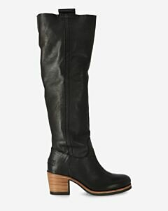Heeled boot smooth leather black
