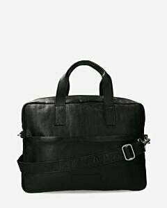 Laptop-Tasche Strukturleder schwarz