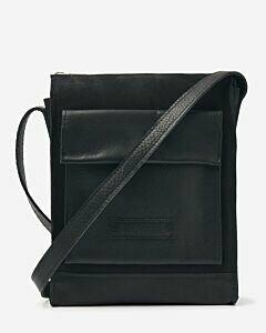 Umhängetasche Leder-Mix warmes schwarz