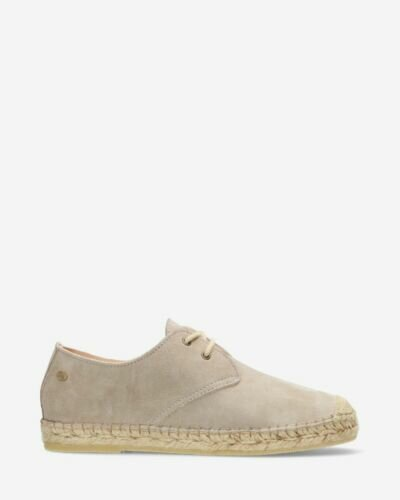 Espadrille lace-up suede taupe