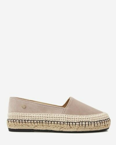 Taupe suede espadrille loafer