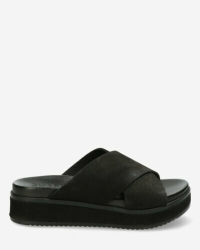 Black slipper with covered wedge