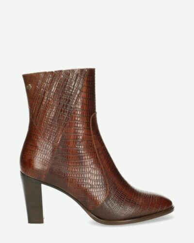 Heeled ankle boot printed leather brown