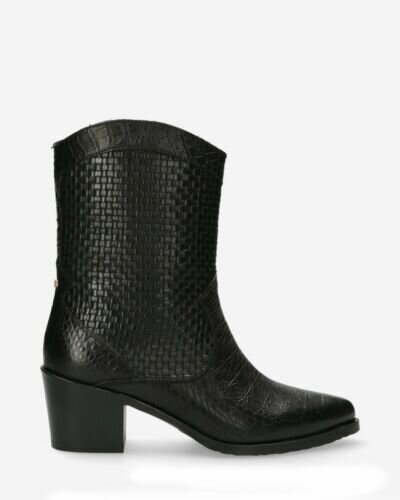 Western ankle boot printed leather black