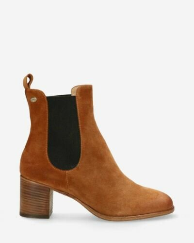 Heeled ankle boot suede cognac