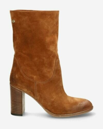 Cognac ankle boot suede