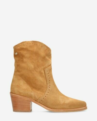 Western ankle boot suede light cognac