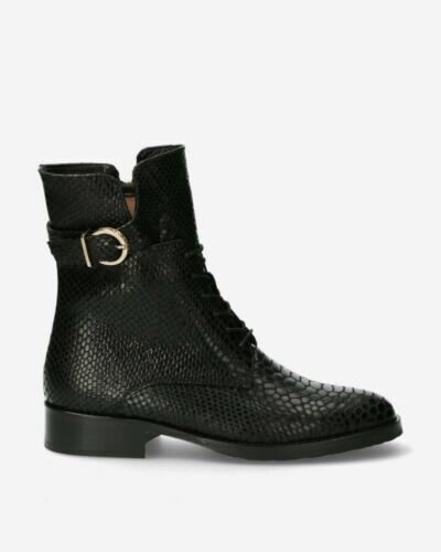 Bootie printed leather black