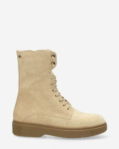 Lace up boot suede beige