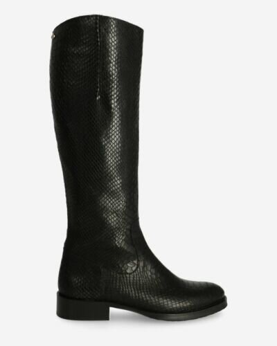 Boot printed leather black