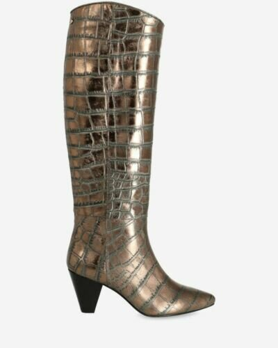 Heeled boot metallic printed leather antracite