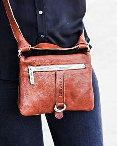 Cross-body-Glattleder-Cognac