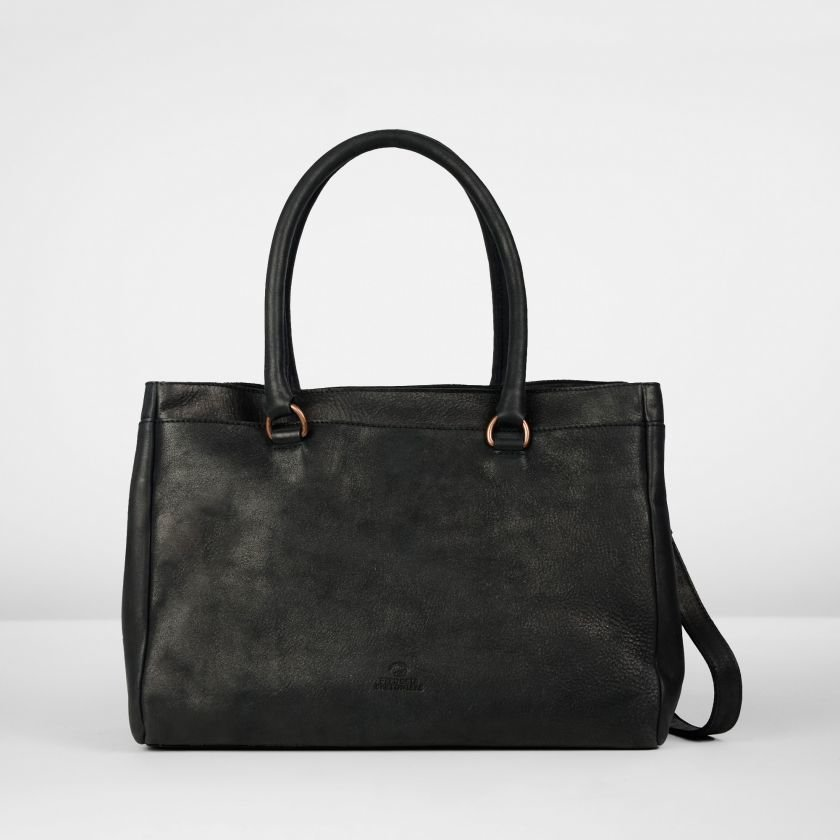 Handbag-hand-buffed-leather-Black