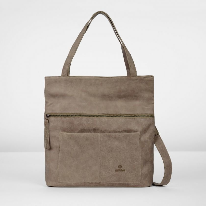 Shoulderbag-grain-leather-Taupe