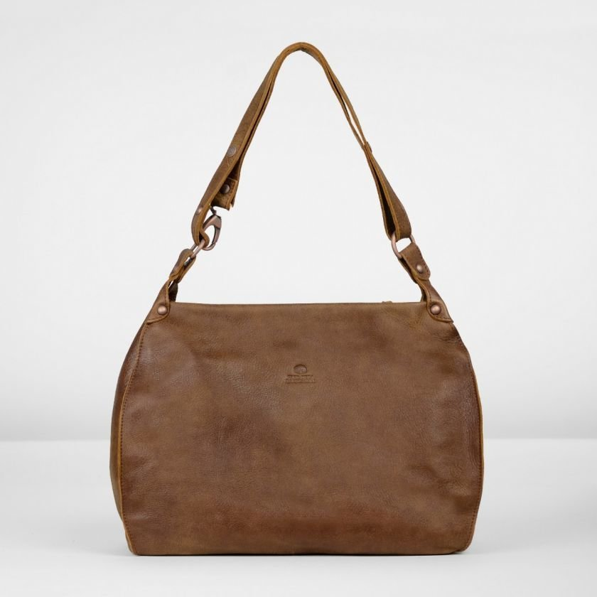 Shoulderbag-hand-buffed-leather-Brown
