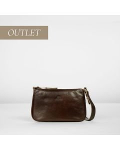 Cross body fine grain leather Dark Brown