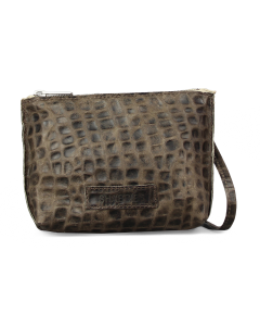 Cross-body-mit-Krokolederprint-Grau