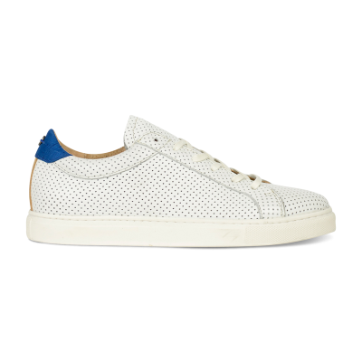 SNEAKER-LOW-SMOOTH-LEATHER-COMBI-SILK-FABRIC-White-Perf-Cobalt-Blue