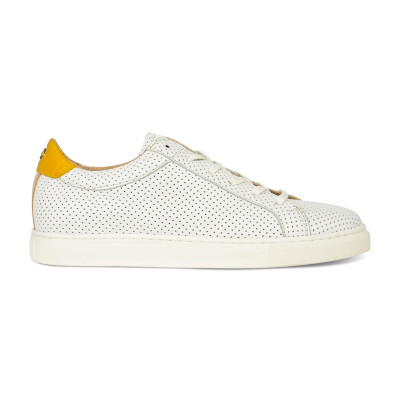 SNEAKER-LOW-SMOOTH-LEATHER-COMBI-SILK-FABRIC-White-Perf-Mustard-Yellow