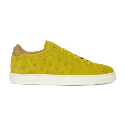 SNEAKER-LOW-PERFORATED-SUEDE-Mustard-Yellow