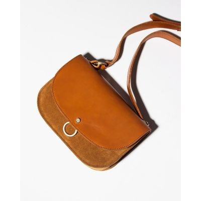 Shoulderbag-suede-and-smooth-leather-Cognac