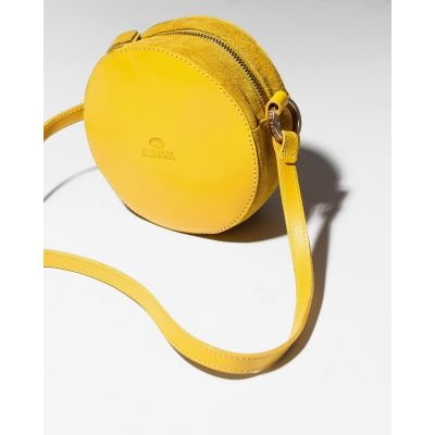 Evening-bag-suede-and-smooth-leather-Yellow-