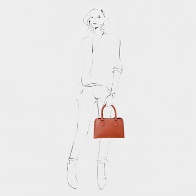 HANDBAG-MEDIUM-NON-GRAIN-LEATHER-Brick-Brown
